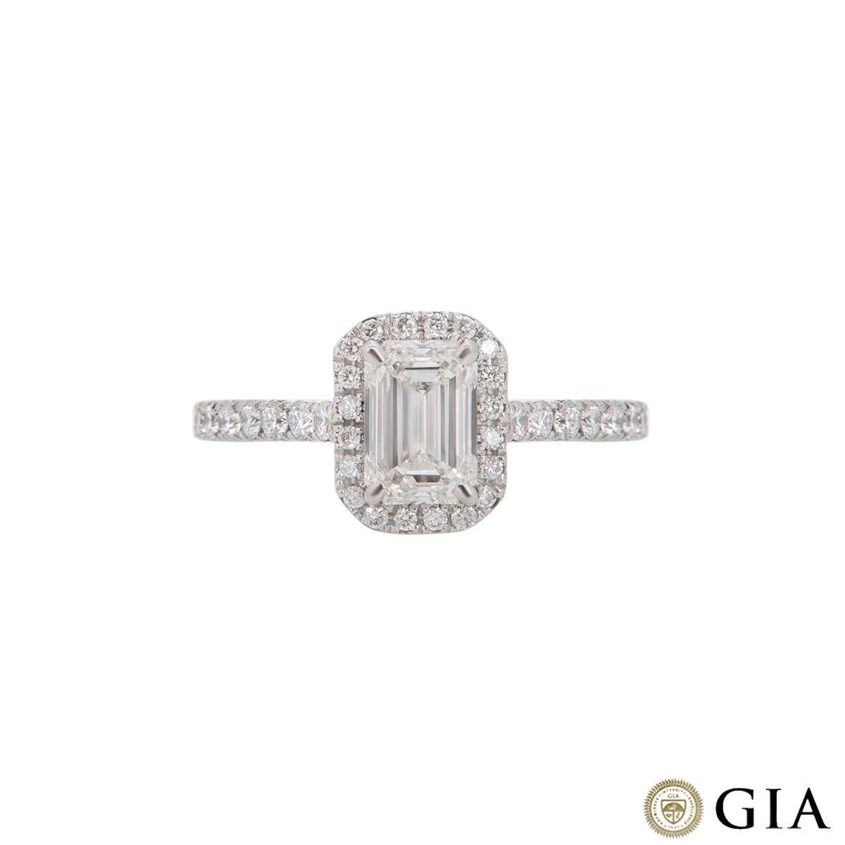 Platinum Emerald Cut Diamond Ring 1.00ct H/VS2